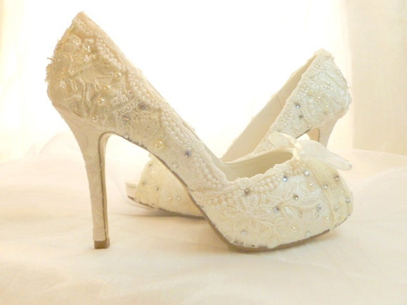Lacey Wedding Shoes Vintage Lace Bridal By TessHarrissDesigns