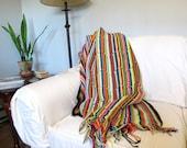 Vintage Hand Knit Stripe Blanket