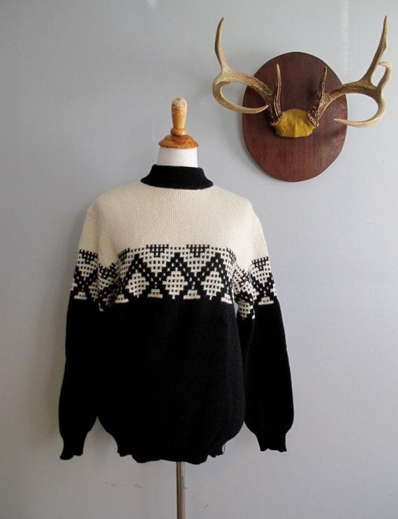 RESERVED Ski Sweater  //  Vintage Benetton Wool Geometric Sweater