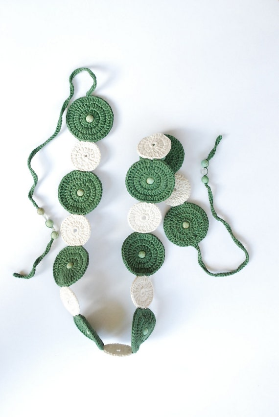 Hand-Made Green Power Belt Malachite Gemstones White