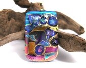 Large Focal Dichroic pendant - 22kt gold accented -Large Gold Slide Bail-Free Shipping To U.S.A
