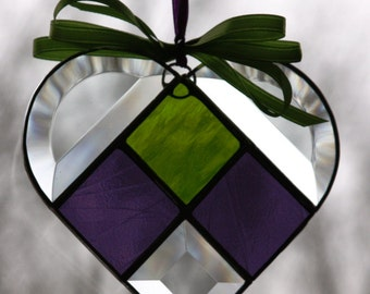Purple and Bright Green Stained Glass Heart