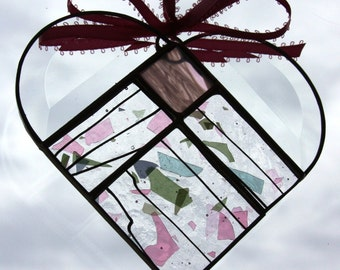 Pink and Green Stained Glass Heart