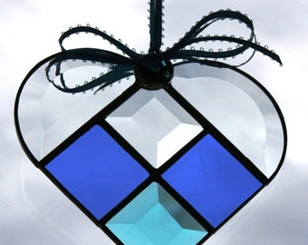 Royal Blue & Turquoise Stained Glass Heart