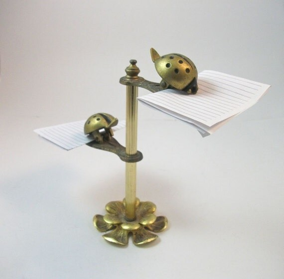 Vintage Beetle Bug Brass Paper/Letter Holder Stand