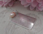 Love Note Necklace I Love You Pale Pink Fresh Water Pearl Long Distance Love Postcard Bride Wedding Annivesary Mothers Day Mum