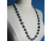 Beaded Necklace Classic Blue White Porcelain Bead Necklace Timeless Simple Elegant Contrasting Colors Bright Blue Long