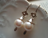 Pearl Earrings Delicate Sterling Silver White Fresh Water Pearls Weddings Brides Bridesmaids Graduation Prom Special Occasions Maid of Honor