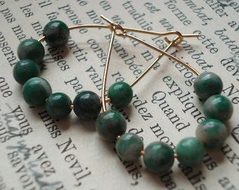 Elegant Golden Tear Drops, Gold Plated Earrings with Round, Green Tree Agate Beads