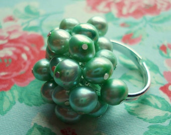 Pearl Ring Soft Minty Sea Foam Green Fresh Water Pearl Pastel Wedding Brides Bridesmaids Flower Girls  Graduation Prom  Ships from Canada