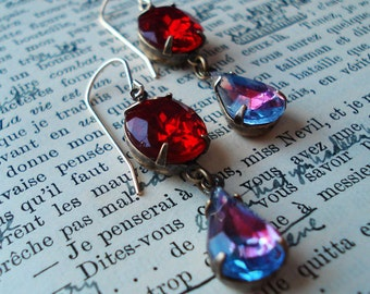 Estate Style Earrings Old Hollywood Glamour Vintage Inspired Deep Crimson Amethyst Red Purple  Formal Occasions, Weddings, Bridesmaids