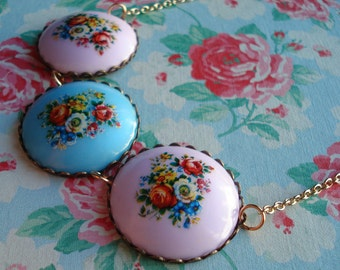 Vintage Cabochon Necklace Nostalgic Posy Pale Lavender Floral Cabochon Gold Plated Chain Red Roses Blue Flowers Lilac Floral Bouquet