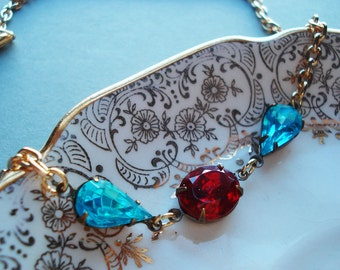 Estate Style Necklace Old Hollywood Glamour Formal Sparkle Vintage Glass Stones Deep Red Crimson Blue Turquoise Tear Drop Oval New Years Eve