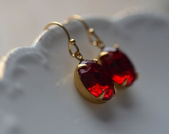 Red Earrings Valentine's Day Valentine Estate Style Old Hollywood Glamour Vintage Inspired  Dangle Sparkle Delicate