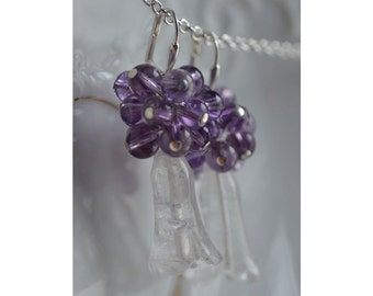 Quartz  Amethyst Earrings Flower Shaped Dangle  Profusion of Amethyst Beads Elegant February Birthstone Bride Winter Wedding