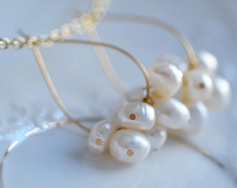 Pearl Earrings Dangle Bride Summer Wedding Bridesmaid Elegant Tear Drops Gold Plated Earrings Fresh Water Pearls