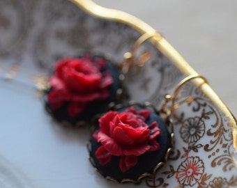 Rose Earrings Red Black Spring Flowers Dangle Cabochon Floral Multi Color Summer Contrast Gold Plated Feminine