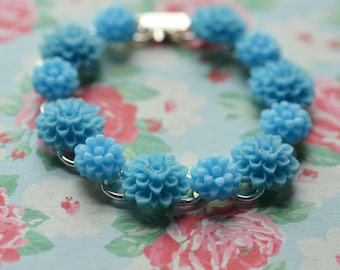 Flower Bracelet Bouquet for your Wrist Chrysanthemum Cabochons Light Blue  Mums Something Blue Summer Brights