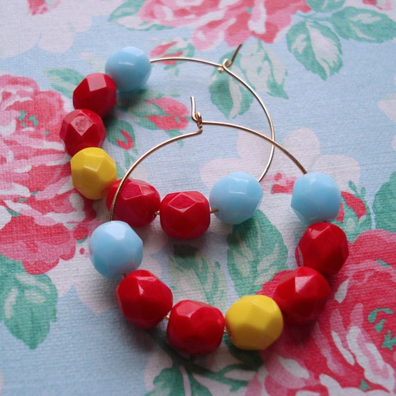 Hoop Earrings Beaded Gold Plated  Baby Blue Sunshine Yellow Bright Cherry Red Czech Glass Beads Cheerful Colorful