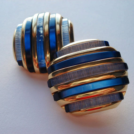 Blue Earrings Gold Tone Bold Large Dramatic 1980 80 80s 1980s Clip on Stripes Light Blue Dark Blue