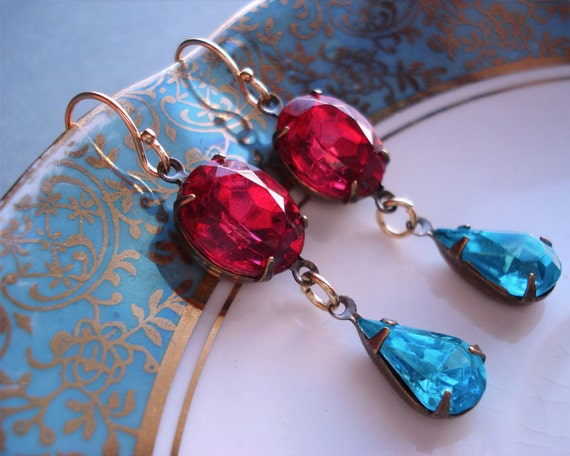 Estate Style Earrings Old Hollywood Glamour Vintage Inspired Blue Pink Turquoise Formal Occasions Weddings Bridesmaids New Years Eve Party