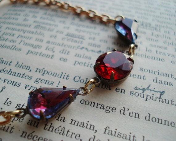 Estate Style Necklace Old Hollywood Glamour Formal Sparkle Vintage Glass Stones Deep Red Crimson Purple Tear Drop Oval New Years Eve