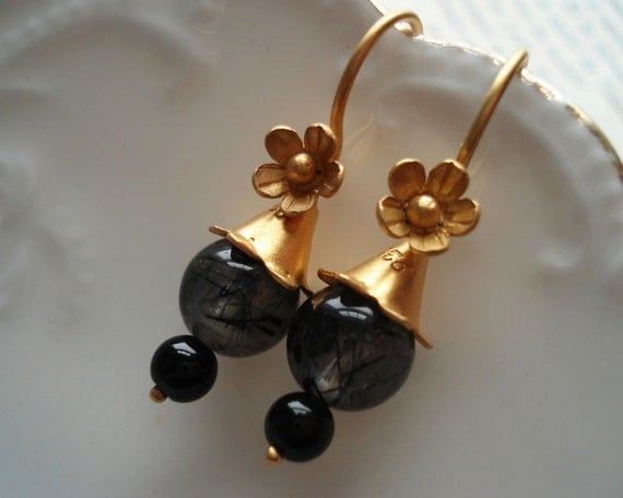 Flower Earrings Delicate Floral Dangle Quartz Obsidian Gold Vermeil Floral Charming Pretty Feminine Romantic Elegant