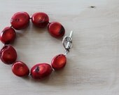 Chunky Funky Red Coral Bracelet
