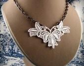 White Venice Lace Appliqué Necklace & Earrings