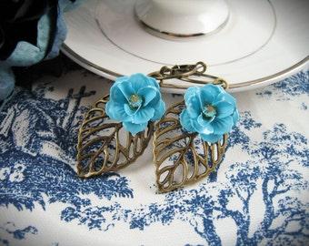 Summer Rose Statement Earrings in Blue