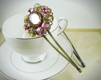 Pink Filigree Vintage Brooch Headband