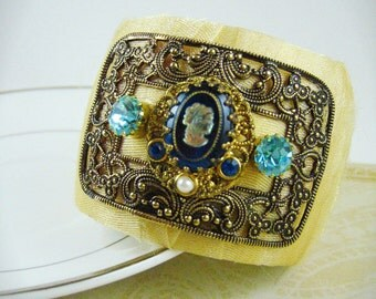 Blue Cameo Filigree Cuff Bracelet