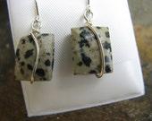 Dalmation Jasper Earrings, Set in Sterling Silver