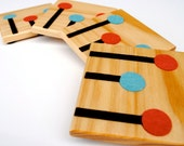 Wooden Coasters Inlaid with Wool Felt - Brown Lines with Blue & Red Dots