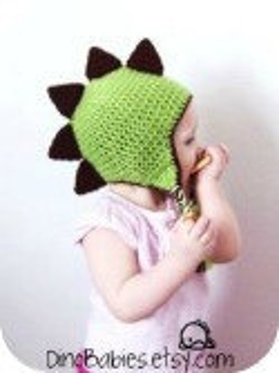 Dinosaur EarFlap Beanie PATTERN in Youth/Adult sizes