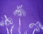 Purple iris shibori wall hanging (traditional Japanese tie dye)