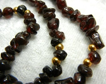 Dangle earring and necklace set - Deep red garnet and gold (the birthstone for January)