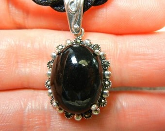 Wyoming nephrite jade with sterling silver and marcasite pendant