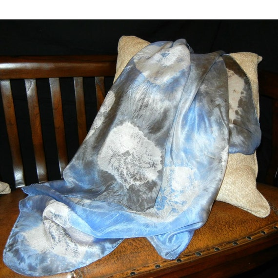 Hand dyed square silk scarf - Blue and gray spiderweb patterned