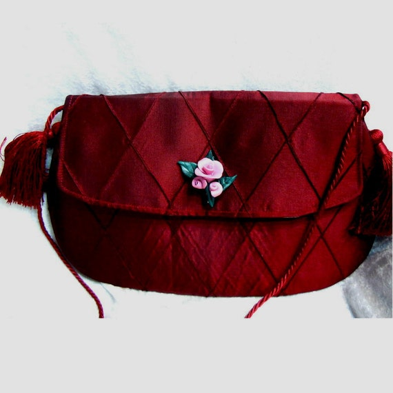 Burgundy clutch purse or handbag  - satin brocade with pink rose brooch