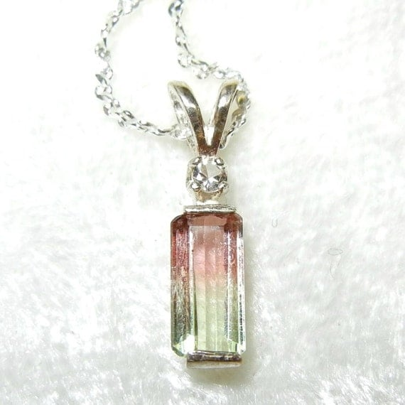 Pale watermelon tourmaline with topaz accent in sterling silver pendant