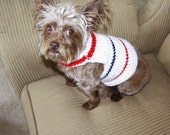 XS-S Small Dog Pullover Sweater in white with red and blue stripes