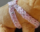 XXS  Easy Fit Dog Harness with matching leash in Soft or Rose Pink with Rhinestones