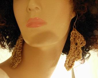 Half Leaf Crochet Earrings with Metallic Accent