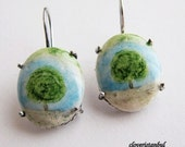 green blue brown lonely tree earrings, nature ,forest, spring, summer, sterling silver ,free shipping