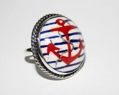 ring- dark blue- blue- nautical- red- sail- sailor- spring- summer- anchor ring- silver-handpainted -free shipping