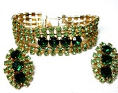1950s  Green Rhinestone Earrings & Bracelet Set, Prong Set Spring Greens, dv86