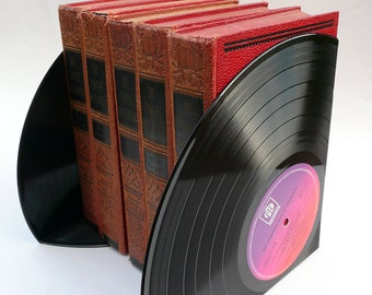 Record Bookends Dad's Music Dad's Office Handmade from Vintage Vinyl Records