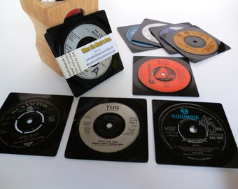 Record coasters RETRO Beer Mats Music Coasters Handmade From Vintage Vinyl Recycled Records