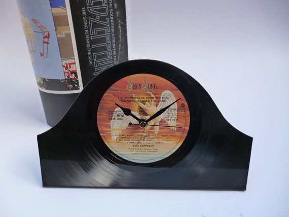 LED ZEPPELIN Clock 1970s Rock Music Recycled Vintage Vinyl Record